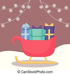 carriage santa claus with gift boxes christmas
