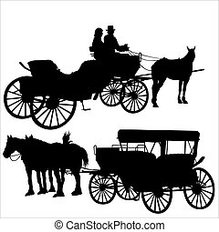 Carriage Silhouette - Black Illustrations, Vector