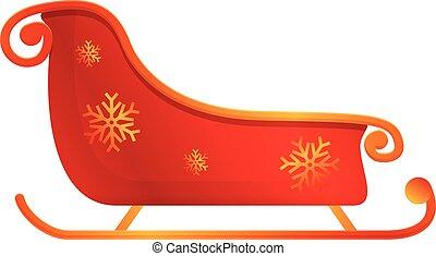 Carriage sleigh icon, cartoon style