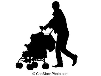 Carriage - Families with child and carriage on white...