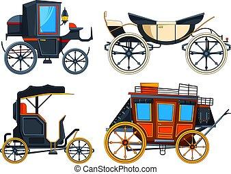 carriage., vetorial, carruagens, retro, quadros, transporte