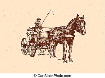 carriage., vettore, aperto, illustrazione