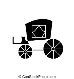 carriage vintage, antique transport  icon, vector illustration, sign on isolated background