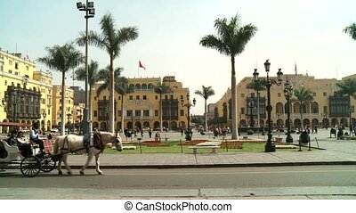 Carriage with horses, Lima, Peru - video footage of a...