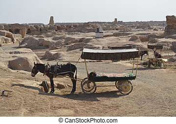 Carriages in the Old city Gaochang on the Silk road