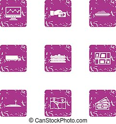 Carriageway icons set. Grunge set of 9 carriageway vector icons for web isolated on white background
