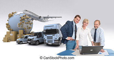 Carrier business - Work team around a computer in an...