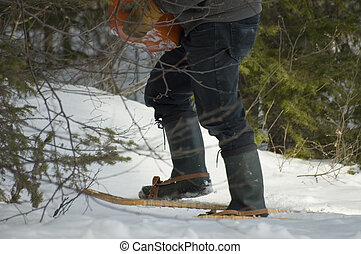Carrier - close up of a carrier on snowshoes