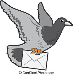 Carrier Pigeon - Carrier pigeon flying with envelope letter...