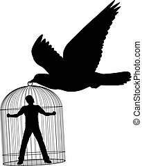 Carrier pigeon - Editable vector silhouette of a pigeon or...