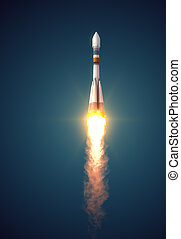 "Carrier Rocket ""Soyuz-Fregat"" Takes Off. 3D Scene."