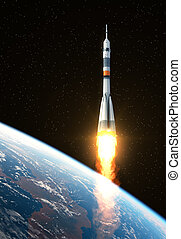 Carrier Rocket Takes Off - Carrier Rocket Launch In Space....