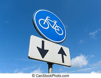 carril, bicicleta, señal
