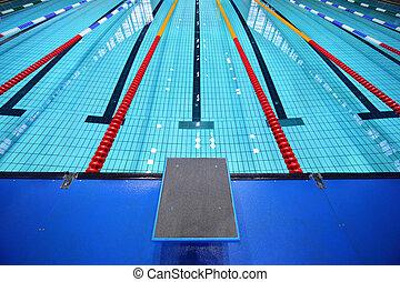 carril, centro, plataforma, uno, comienzo, piscina, natación