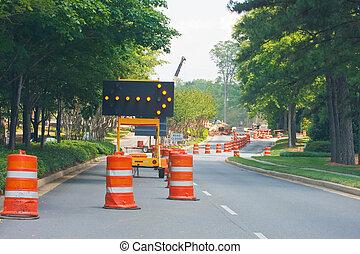 carril, construcción, camino cerrado