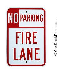 carril, no, fuego, -, aislado, señal, estacionamiento