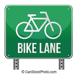 carril, señal, bicicleta, ilustración, diseño