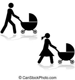 carrinho criança empurrando