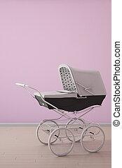 carrinho criança, ligado, cor-de-rosa, parede, vertical