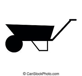 carrinho de mão, ícone