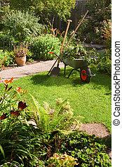 carriola, giardino, lavorativo