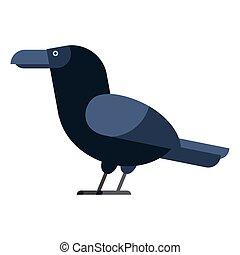 Carrion crow raven vector illustration.