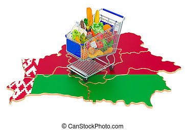 carrito, 3d, belarus, comprar, belorussian, interpretación, concept., compras, mapa, potencia