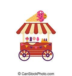 carrito alimento, blanco, ruedas, algodón, crema, aislado, cono, dulces, mercado, plano, verano, congelado, dulce, fondo., estilo, tienda helado, diferente, helado con frutas y nueces