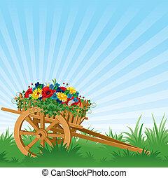 carrito, vendimia, de madera