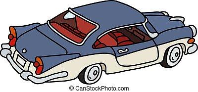 carro azul, americano, antigas, branca
