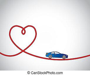 carro azul, amor, viagem, vermelho, conceito