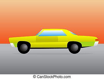 carro azul, barra quente