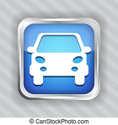carro azul, botão, ícone