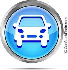 carro azul, botão, branca, ícone