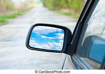 carro azul, céu, espelho