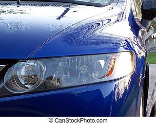 carro azul, capuz