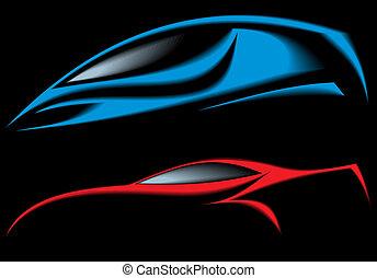 carro azul, desenho, meu, original, vermelho