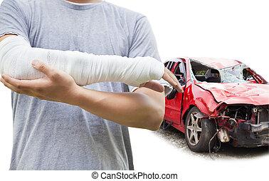 carro azul, destruído, closeup, bandaged, braço