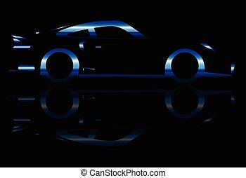 carro azul, flash, rapidamente
