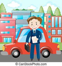 carro azul, homem negócios, terno vermelho