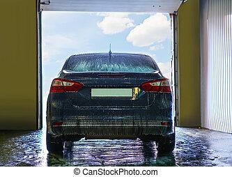 carro azul, ligado, lavagem carro