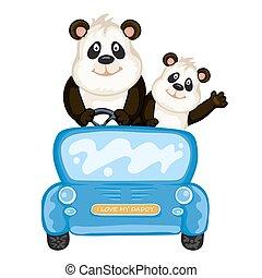 carro azul, papai, panda, bebê
