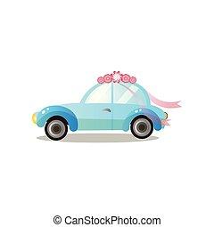 carro azul, retro floresce, lado, fita, vista