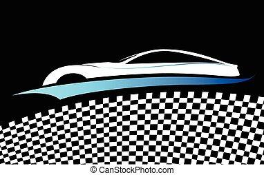carro azul, símbolo