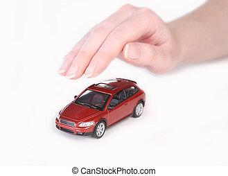 carro brinquedo, coberto, com, mão feminina