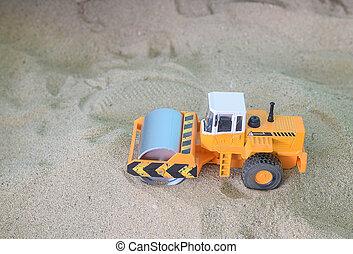 carro brinquedo, equipamento, areia, construção, rolo, fundo, estrada