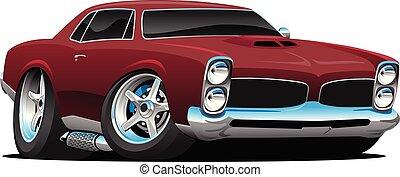 carro clássico, ilustração, americano, vetorial, músculo, caricatura