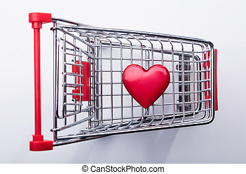 carro de compras, con, corazón rojo