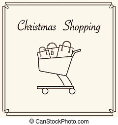 carro de compras, con, regalo, bags.