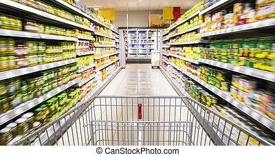 carro de compras, en, el, supermercado